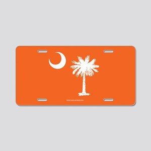SC Palmetto Moon State Flag Orange Aluminum Licens