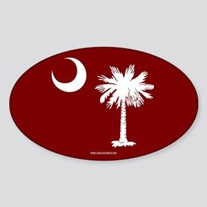 SC Palmetto Moon State Flag Garnet Sticker (Oval)