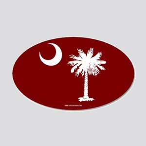 SC Palmetto Moon State Flag Garnet 20x12 Oval Wall