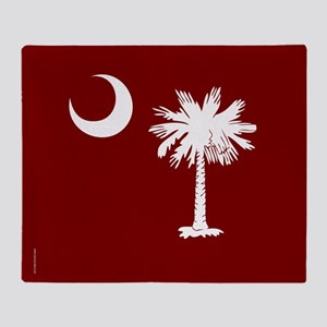 SC Palmetto Moon State Flag Garnet Throw Blanket