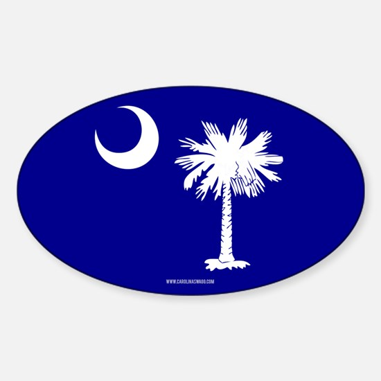 SC Palmetto Moon State Flag Blue Sticker (Oval)