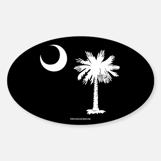 SC Palmetto Moon State Flag Black Sticker (Oval)