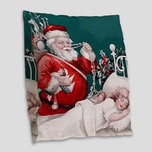 vintage christmas Burlap Throw Pillow