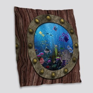 Underwater Love Porthole Burlap Throw Pillow