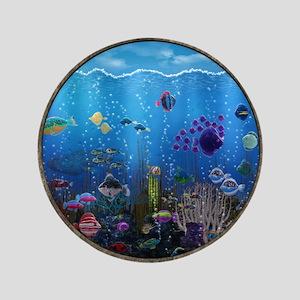 "Underwater Love Porthole 3.5"" Button"