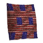 Van Gogh's Flag of the US Burlap Throw Pillow
