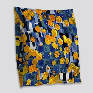 Klimtified! - Gold/Blue Burlap Throw Pillow