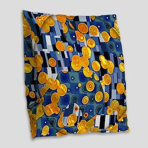 Klimtified! - Gold/Blue Burlap Throw Pillow
