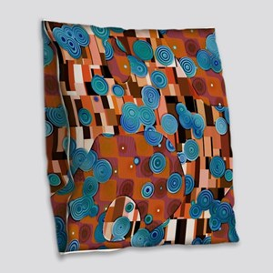 Klimtified! - Rust/Turquoise Burlap Throw Pillow