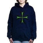 Green Maltese Cross Women's Hooded Sweatshirt