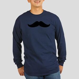 Cool Mustache Beard Long Sleeve Dark T-Shirt