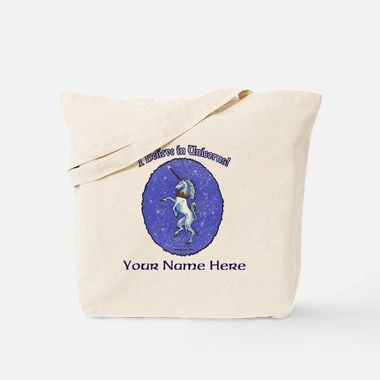Unicorn Purple Glitter Personalize Tote Bag