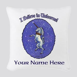 Unicorn Purple Glitter Personalize Woven Throw Pil