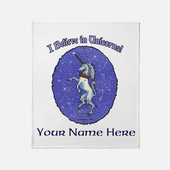 Unicorn Purple Glitter Personalize Throw Blanket