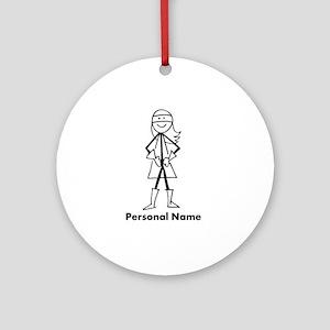 Personalized Super Stick Figure Girl Ornament (Rou
