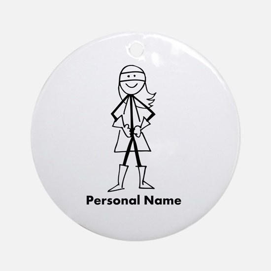 Personalized Super Stick Figure Girl Ornament (Rou