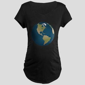 Globe Facing Western Hemisphere Maternity T-Shirt