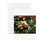 Holly and Green Leaves Greeting Cards