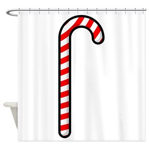 Red Chevron Candy Cane Shower Curtains