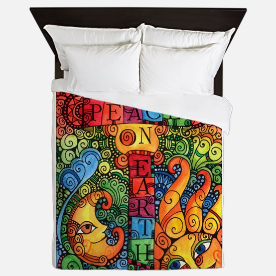 Peace on Earth Sun and Moon Queen Duvet