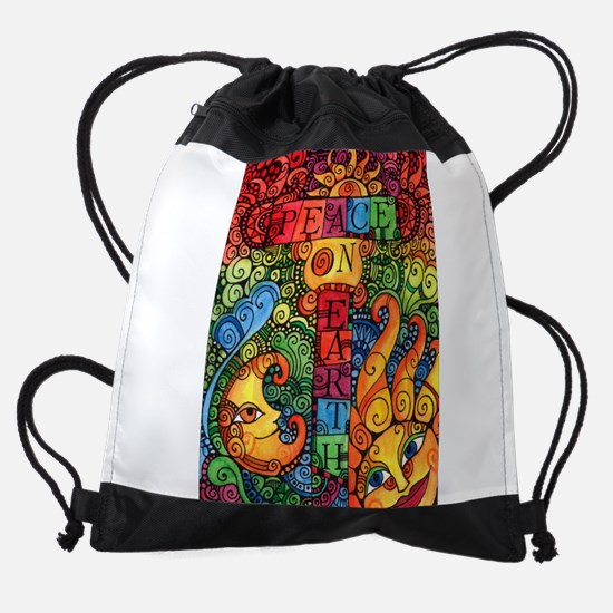 Peace on Earth Sun and Moon Drawstring Bag