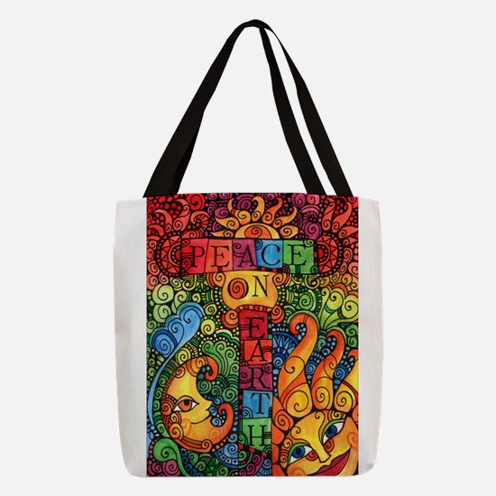Peace on Earth Sun and Moon Polyester Tote Bag