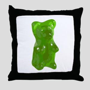 Green Gummy Bear Throw Pillow
