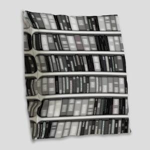 Modern Bookshelf Burlap Throw Pillow