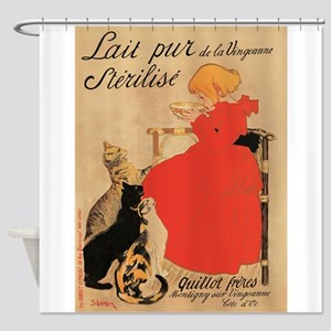 Girl, Cats, Steinlen, Vintage Poster Shower Curtai