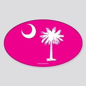 SC Palmetto Moon State Flag Pink Sticker (Oval)