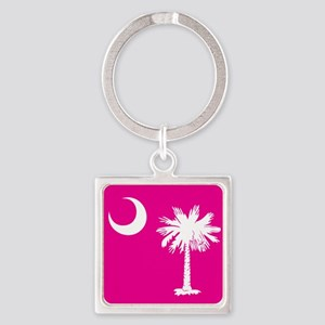 SC Palmetto Moon State Flag Pink Square Keychain