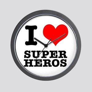 I Heart (Love) Super Heros Wall Clock