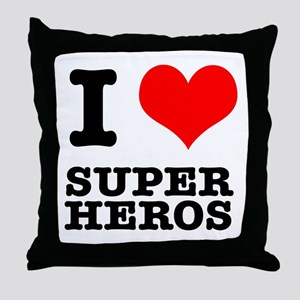 I Heart (Love) Super Heros Throw Pillow