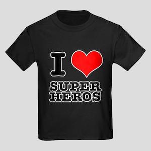I Heart (Love) Super Heros Kids Dark T-Shirt