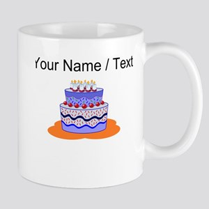 Custom Blue Layered Cake Mugs