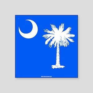 """SC Palmetto Moon State Flag Blue Square Sticker 3"""""""