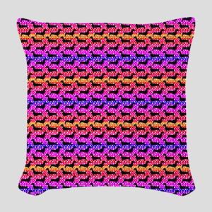 Rainbow Dachshunds Woven Throw Pillow