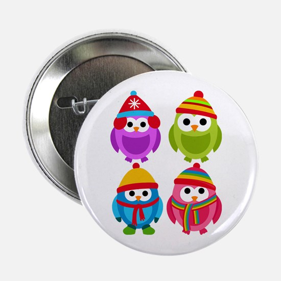 "Adorable Retro Winter Owls 2.25"" Button"