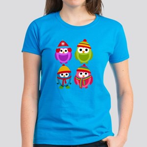Adorable Retro Winter Owls Women's Dark T-Shirt