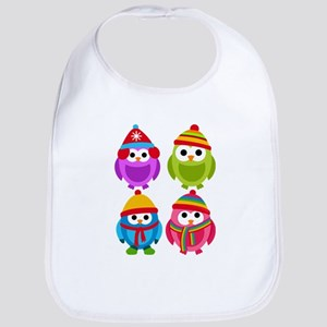 Adorable Retro Winter Owls Bib