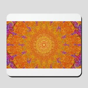 Orange Sunburst Mousepad