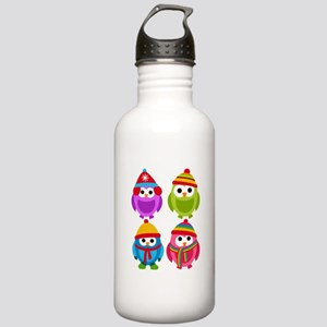 Adorable Retro Winter Owls Stainless Water Bottle