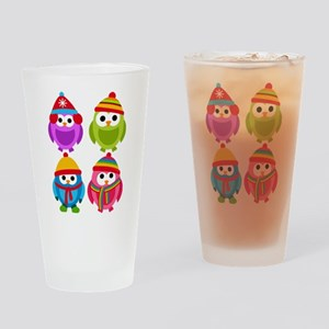Adorable Retro Winter Owls Drinking Glass