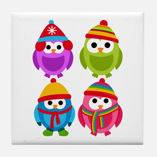 Adorable Retro Winter Owls Tile Coaster