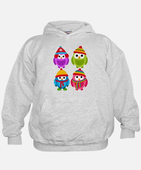 Adorable Retro Winter Owls Hoody
