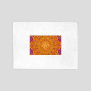 Orange Sunburst 5'x7'Area Rug