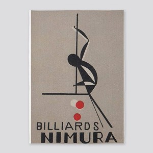 Japanese, Billards, Vintage Poster 5'X7'area Rug