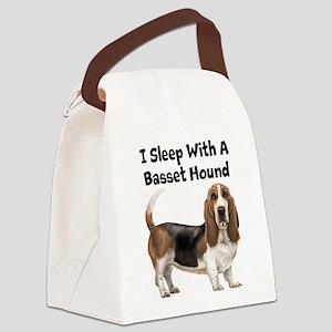 I Sleep With A Basset Hound Canvas Lunch Bag