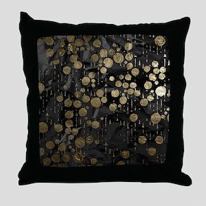 metal art drops black Throw Pillow