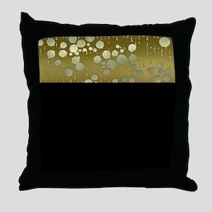 metal art drops golden Throw Pillow